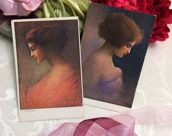 2 Gorgeous Pretty Lady Antique Postcards, Woman in Profile, Romantic, European Prague, UNUSED, Vintage c 1910
