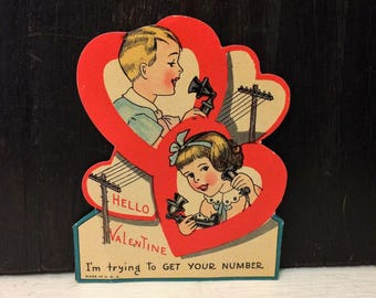 Vintage Die Cut Valentine's Day Card, Little Boy and Girl Talking Phone Old Fashioned Telephone circa 1920s 1930s Red Hearts
