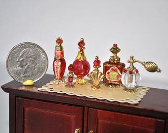 Dollhouse Miniatures Artisan Perfume Vanity Set, Miniature Perfume, Dollhouse Miniature Bottles, Dollhouse Perfume, Red and Gold Set 1/12th