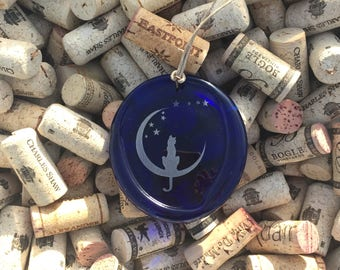 Blue Stars Cat Recycled Wine Bottle Sun Catcher Ornament - Charm, Upcycle Recycle Repurpose, Melted Wine Bottle, Pendent, Christmas