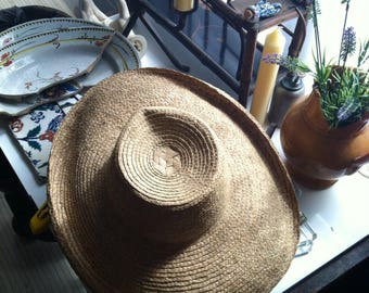 Vintage Sun hat beach shade wide brim braided straw grass French woven millinery Summer breezy Van Gogh classic handcrafted headdress