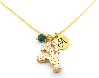 Gold Cactus Necklace -Swarovski Birthstone - Custom Initial - Personalized Gold Plated Necklace / Gift for Her