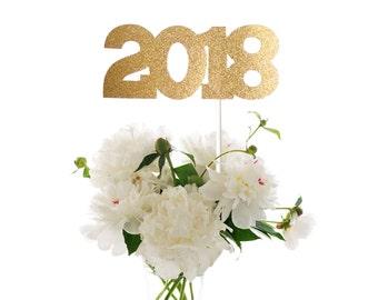 2018 New Year's Eve Centerpiece Stick, Happy New Year 2018, Glitter 2018 Centerpiece Stick, 2018 Party Stick, 2018 Party Wand, 2018 Stick