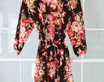 Kimono Robe, Burgundy Bridesmaid Robe, Floral Kimono, Cotton Robe, Long Dress, Flower Girl Robe, Floral Dress, Summer Gown, Set Of Dresses