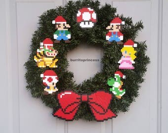 Mario Christmas Wreath - Super Mario Christmas Wreath - Super Mario Christmas Decoration - Video Game Christmas Decoration