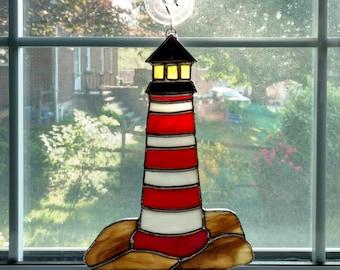 Lighthouse Stained Glass Suncatcher - Coastal Art - Beach Decor - Nautical Decor - Lighthouse Ornament - Boat Lover Gift - Ocean Sea Decor