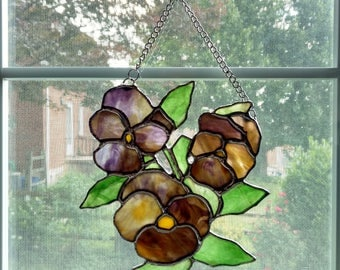 Pansies Stained Glass Suncatcher - Stained Glass Flower - Purple Pansies - Glass Pansy - Housewarming Gift - Gardener Gift - Garden Decor