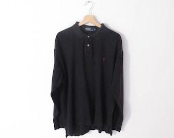 Polo RALPH LAUREN Black Cotton Long Sleeve Polo Shirt with Red Logo,sz. XL