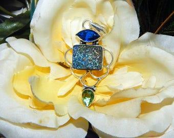 Alluring Dreamscape Vampire inspired vessel - Handcrafted Titanium Druzy pendant necklace