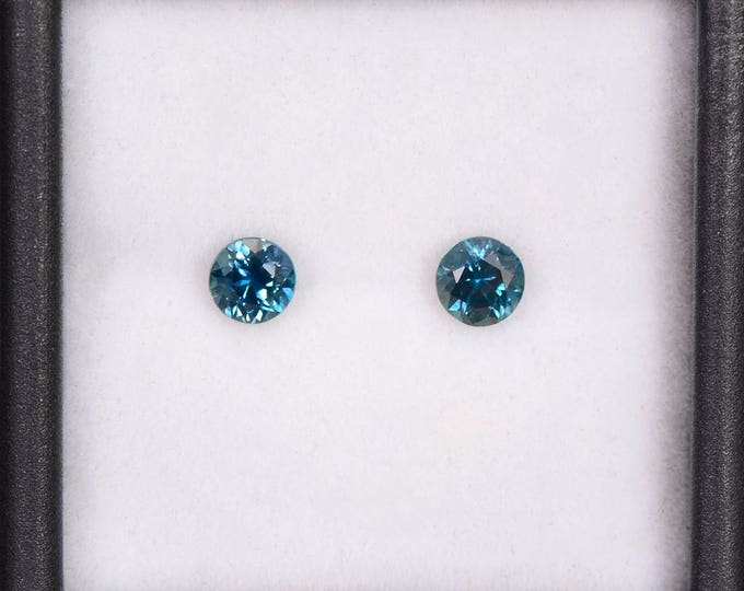 SALE EVENT! Stunning Blue Green Sapphire Match Gemstone Pair for Earrings, 4 mm, Rounds, 0.82 tcw.