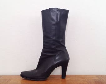 90s black boots black heeled boots black leather boots high heel boots