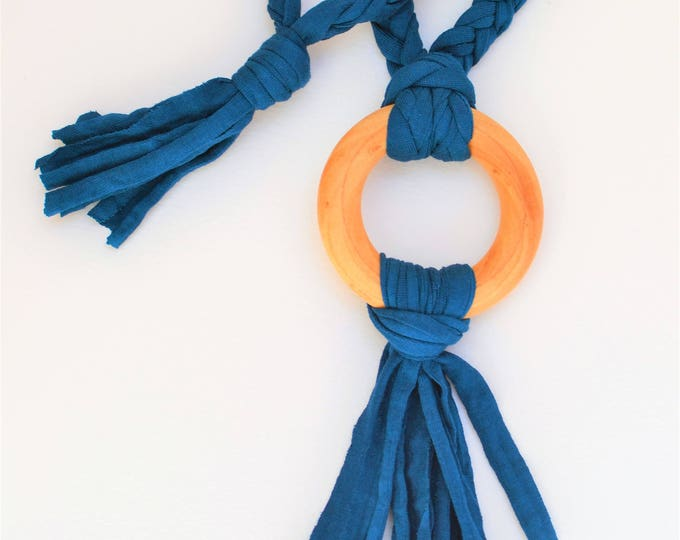 Blue Tug & Pull Teething Tassel Necklace | Night Blue Teething Necklace | Shades of Blue Tassel Necklace