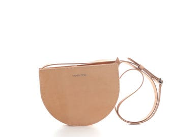 Natural brown crossbody bag, small leather shoulder bag, crossbody purse, half moon bag, small saddle bag, small bag, FREE SHIPPING