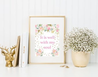 It is well with my soul Christian Printable Wall Art - Religious Nursery Decor - 8 x 10 - Watercolor Art - Nursery Decor
