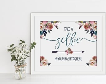 PRINTABLE Wedding Selfie Hashtag Sign - Layla Collection