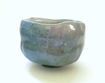 Blue and Purple Fish Scale Tea Bowl Matcha Chawan