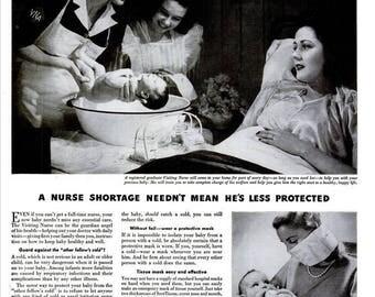 1944 WWII ScotTissue Baby Ad Vintage Registered Nurse Midwife Doctor Medical Obstetrician Gift Hospital Room Nursery Bathroom Wall Art Decor