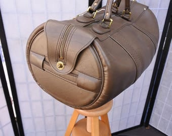 Round Duffel Bag, Saddle Bag, Faux Leather Gym Bag