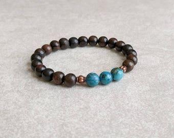 Yoga Bracelet - Support & Encouragement - Lace Agate/Tiger Ebony - Beaded Bracelets - Mala Energy Bracelet - Friendship Gift - Item #385