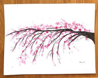 Cherry blossoms watercolour, gift for her, pink flowers art, 12 x 9 inches