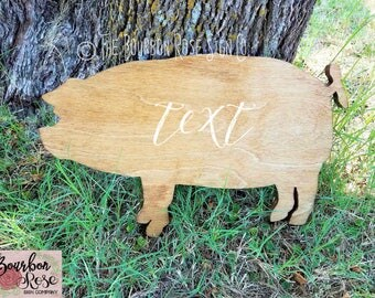 Custom Rustic Silhouette Style Sign - Pig Sow - Add Your Text - Choose your Colors
