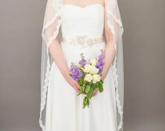 Couture bridal veil, 2 tier lace edge veil, blusher veil, waltz length veil - Vivien