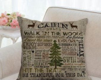 Cabin Rules Designer Pillow