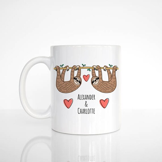 Sloth Mug Personalized Valentines Day Gift for Him for Her Cute Couple Mug Engagement Gift Anniversary Gift Wedding Gift Unique Coffee Mug