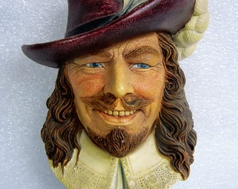 Legend Products 'Cavalier' Chalkware Head Wall Plaque - Dated 1985