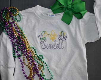 Mardi Gras Applique three in a row, mask, fleur de lis, jester hat