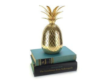 "9"" Large Tall Vintage Brass Pineapple Container - Gold Ice Bucket Mid Century - Bar Cart Accessories Hollywood Regency Southern Hospitality"