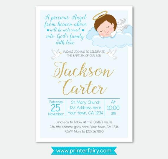 boy baptism invitation christening invitations digital