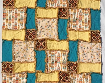 Southwestern Baby Blanket, Baby Rag Quilt, Feathers and Arrows, Teal and Yellow, Gender Neutral, Snuggle Flannel, Crib Blanket, Nursery