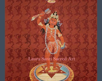 Tibetan Buddhist art, Vajrayana Devotional art, Queen of Great Bliss puja deity, Vajra Varahi, goddess of vitality, Marchungma, Machig
