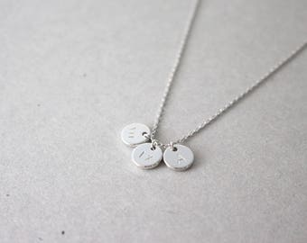 Silver Initial Necklace - little silver disc initial necklace - initial necklace - personalized necklace