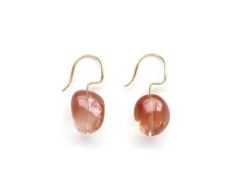 Oregon Sunstone Earrings No.1 - 14K Solid Gold Jewelry - One Of A Kind