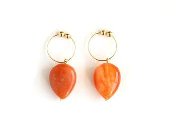 Teardrop Non Pierced Earrings, Agate Jewelry