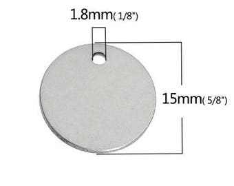 Pendant medal round 15 mm sequin steel with or without engraving