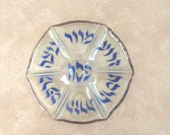 Vintage handmade glass seder dish for Passover holidays - Neker Glass - hand painted - Pesach dish - made in Israel - Judaica