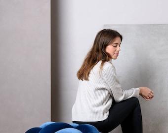 Large Velvet Knot Floor Cushion in Royal Blue, Knot Floor Pillow, Modern pouf, cushion, pouf ottoman, Meditation Pillow,