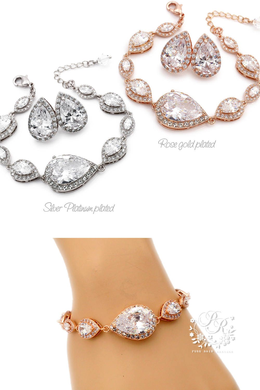 Wedding Earrings Wedding Bracelet set Rose gold Zirconia