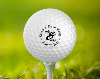 Wedding Date and Name, Mr & Mrs Customized Golf Balls, Wedding Favors,Set of 3,Printed, Save The Date, Father of the Bride,Groom, GB-32