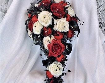 SOLD-LORI-DEPOSIT-split payment Wedding Flower Bouquet-Cascade-Wedding Bridal Flowers-Bride's Flowers-Red/White/Black-Bridal Bouquet-Bride's