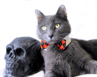 Black and Orange Argyle Bow Tie, Necktie, or Bow on a Shirt Style Collar for both Dogs & Cats