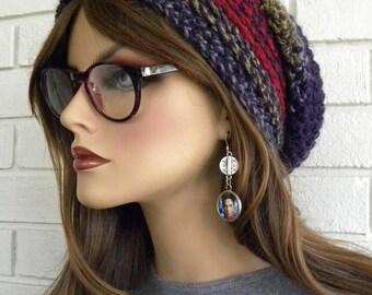 Crocheted Hat, Purple Slouchy Beanie, Woman's Infinity Scarf, Infinity Scarf, Multi Colors, Women, Winter Hat sets