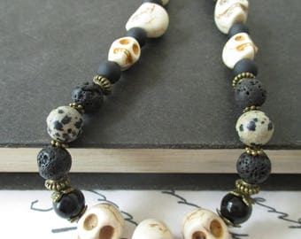 Black and White Skulls with Bronze Metalwork Beaded Necklace. Skull. Goth. Metal. Punk. Steampunk.