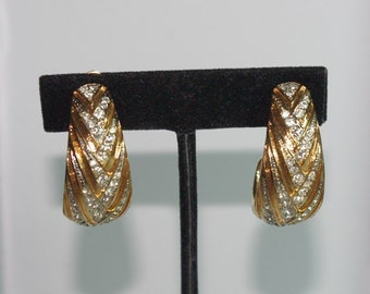 Christian Dior Clip On Earrings - Gold Tone with Crystals - S2424