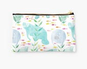 Manatee Pouch - choice of size, watercolor manatees with pink and yellow fish, pouch with metal zipper, Florida pouch, manatee gifts