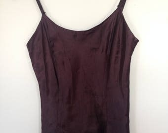 Vintage Deep Brown Silk Fitted Spaghetti Strap Compagnie Internationale Express Tank Top Size Small