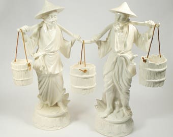 Amazing Vintage Japanese Figures Man Woman Carrying Water Buckets